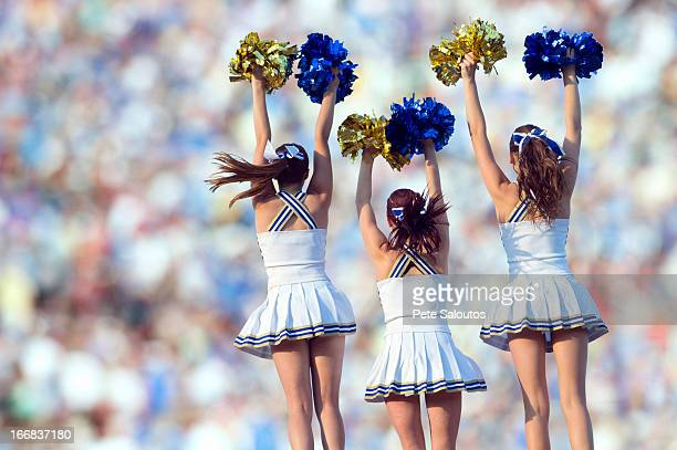caucasian cheerleaders posing together - cheerleaders stock photos and pictures