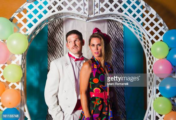 caucasian couple at retro prom - prom stock pictures, royalty-free photos & images