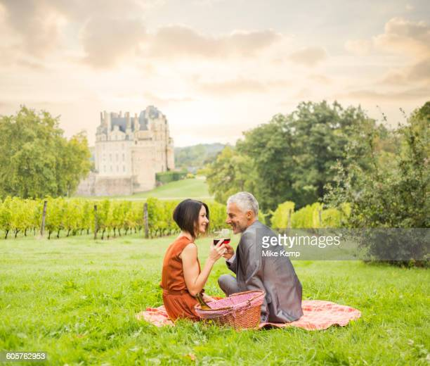 Caucasian couple enjoying wine at picnic