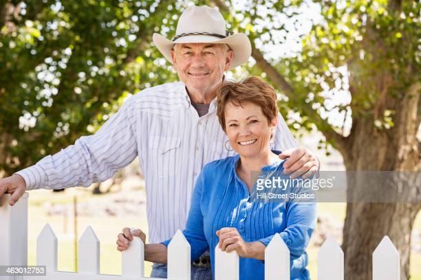 Caucasian couple smiling outdoors