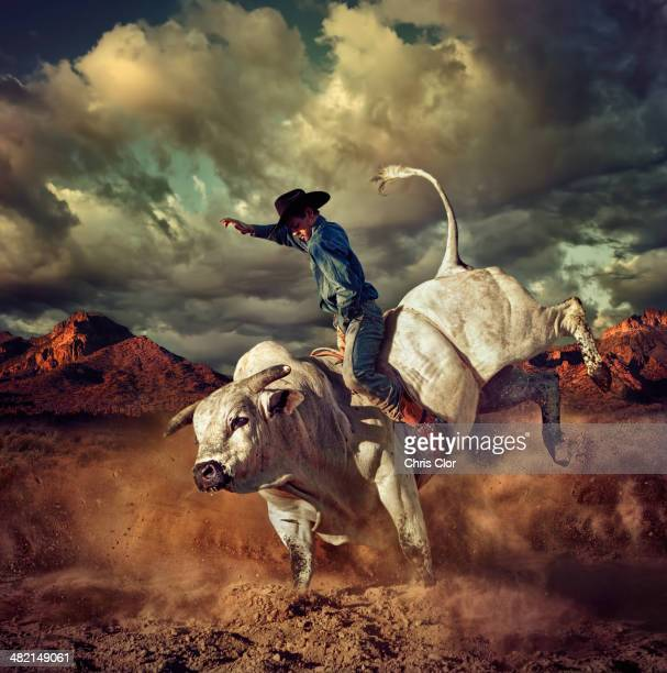 Caucasian cowboy riding bucking bull in desert