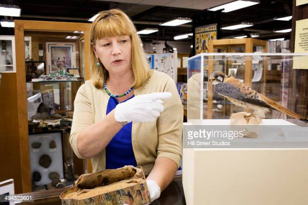 caucasian curator examining artifacts in museum - museum curator stock pictures, royalty-free photos & images