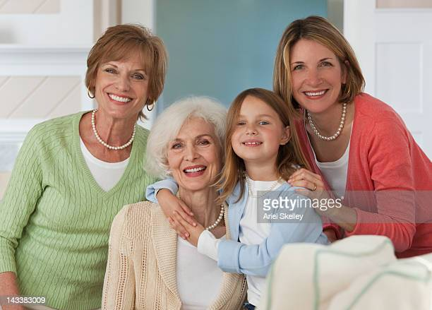 caucasian family posing for photograph - aunt stock photos and pictures