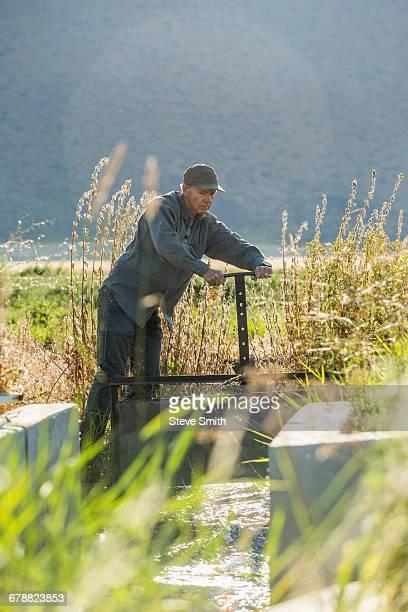 Caucasian farmer adjusting irrigation equipment