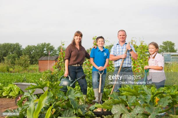 Caucasian farmer family working together in farm fields