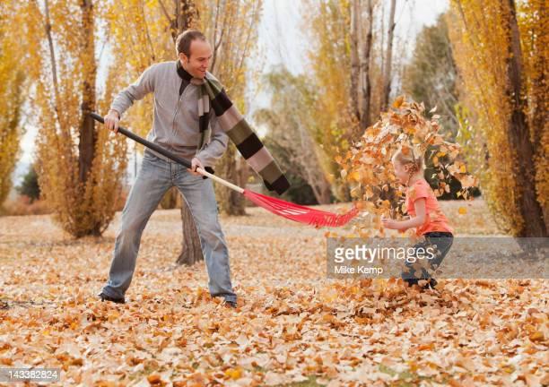 caucasian father and daughter raking autumn leaves - jardinier humour photos et images de collection