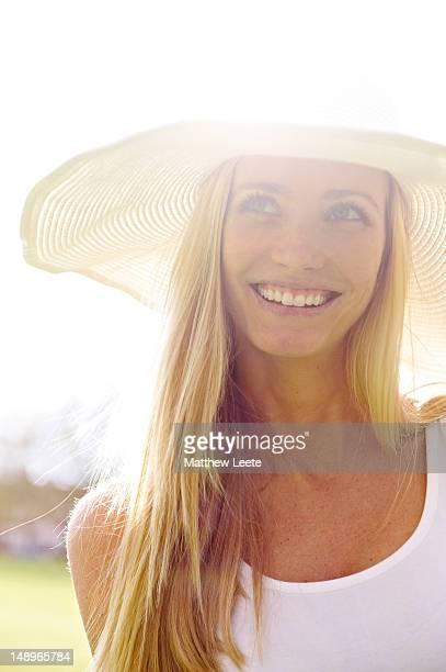 Caucasian female laughing in park