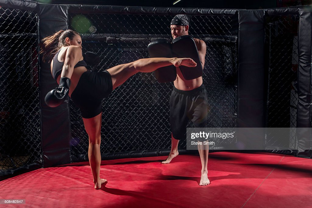 Caucasian fighters training in gym : Stock Photo