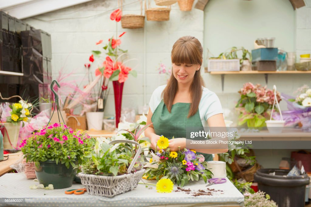 Caucasian florist working in flower shop : Stock Photo