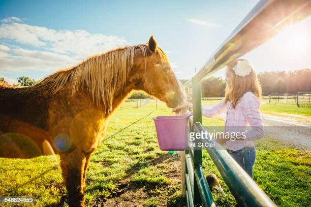 Caucasian girl feeding horse on ranch