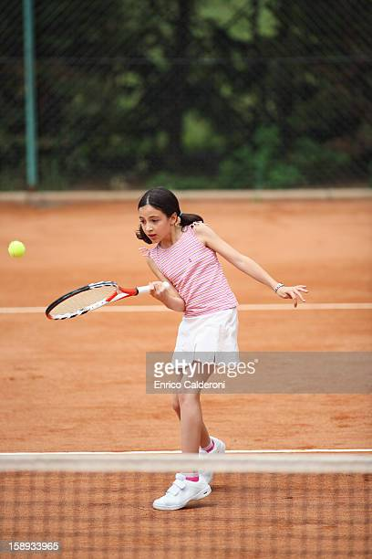 Caucasian Girl Playing Tennis