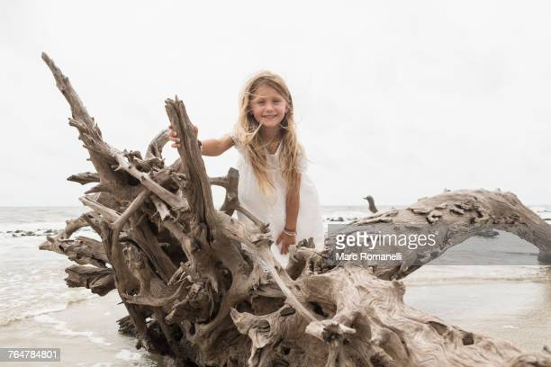 Caucasian girl posing on driftwood on beach