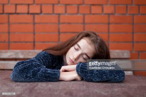 Caucasian girl resting