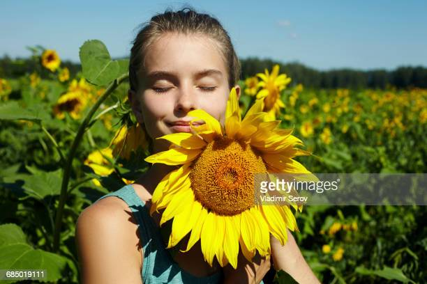 Caucasian girl smelling sunflower in field