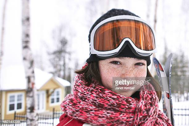 caucasian girl wearing ski gear in snow - female skier stock pictures, royalty-free photos & images