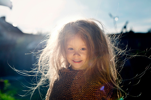 Caucasian girl with messy hair outdoors - gettyimageskorea