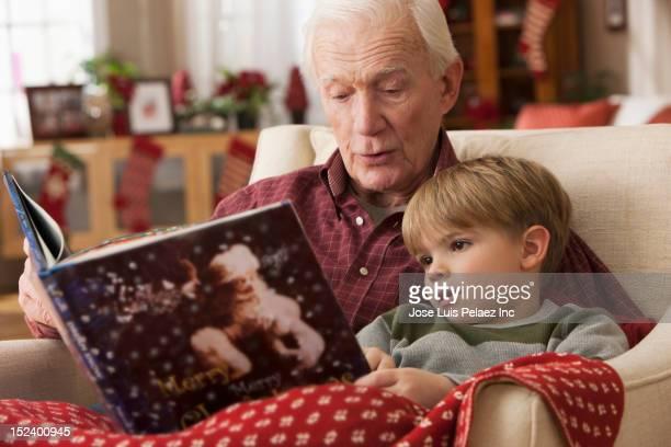 caucasian grandfather reading book to grandson - historia bildbanksfoton och bilder