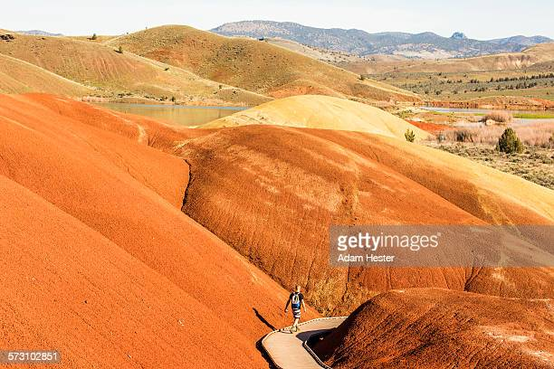 caucasian hiker on wooden walkway in desert hills - john day fossil beds national park stock pictures, royalty-free photos & images