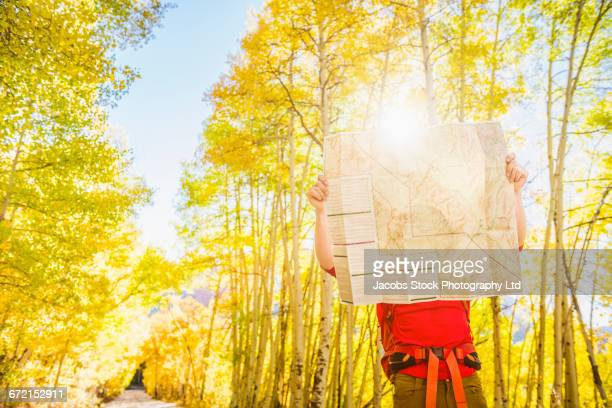 Caucasian hiker with backpack reading map in forest