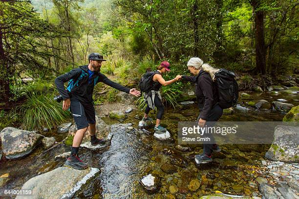 caucasian hikers crossing creek on rocks in forest - nelson city new zealand stock pictures, royalty-free photos & images