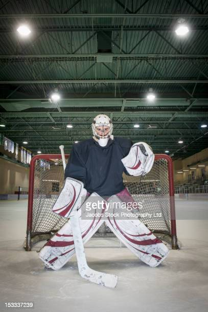 caucasian hockey goalie standing near net - goalkeeper stock pictures, royalty-free photos & images