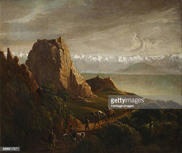 Caucasian landscape with camels, 1837-1838. Found in the collection of Institut of Russian Literature IRLI , St Petersburg. Artist : Lermontov,...