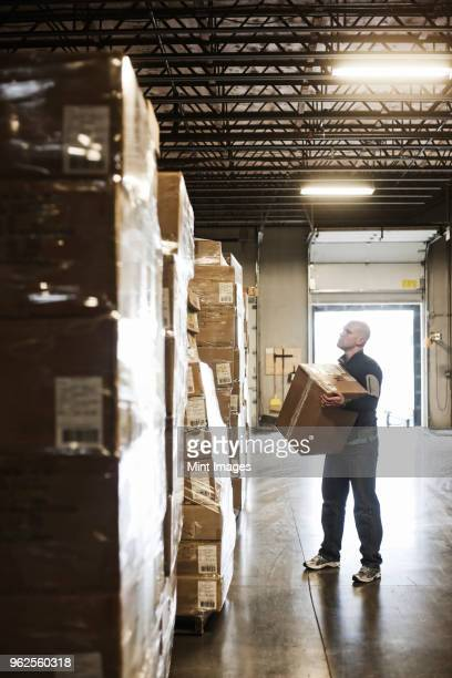 Caucasian male warehouse worker checking inventory on stacks of cardboard boxes holding products in a large distribution warehouse with loading dock door in the background.
