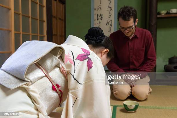 Caucasian man enjoy tea ceremony