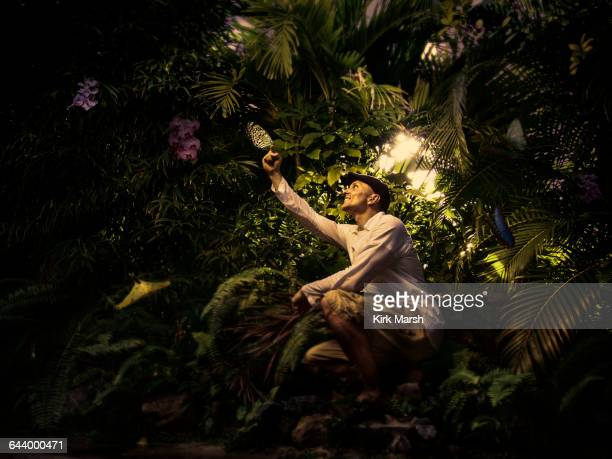 Caucasian man exploring butterflies in remote forest