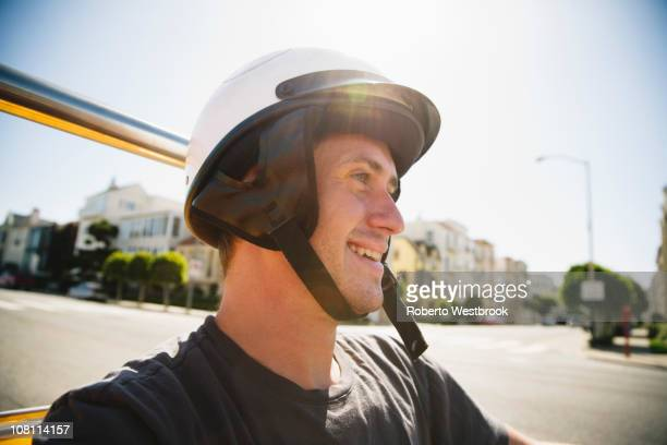 caucasian man in helmet driving go-cart - go cart stock pictures, royalty-free photos & images