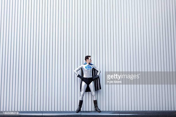 Caucasian man in superhero costume