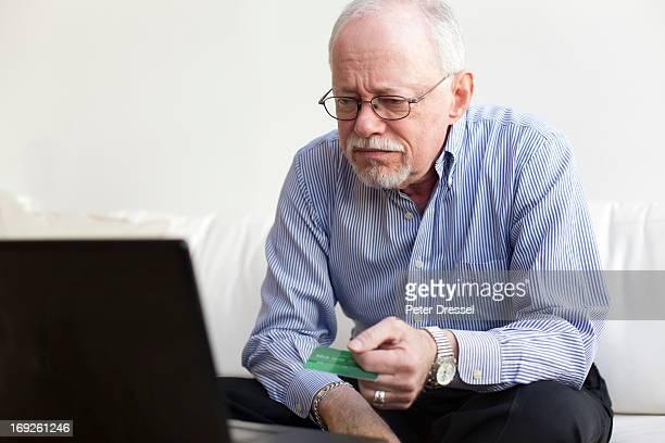 Caucasian man shopping online