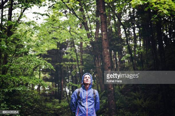 caucasian man standing in the forest in the rain - gunma prefecture stock photos and pictures
