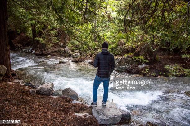 Caucasian man standing on rock near stream in woods