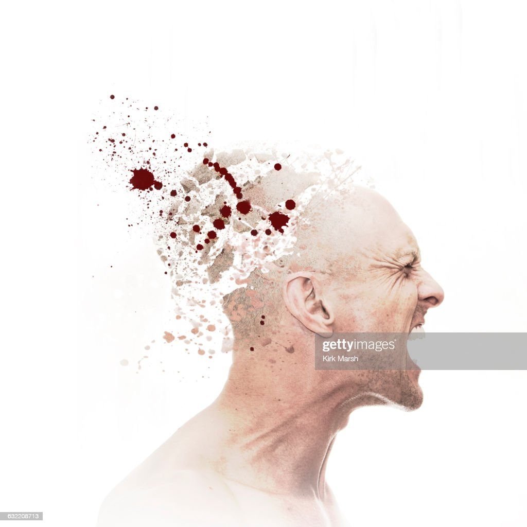 Caucasian man with exploding head : Stock Photo