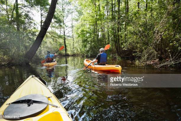 Caucasian men kayaking in jungle