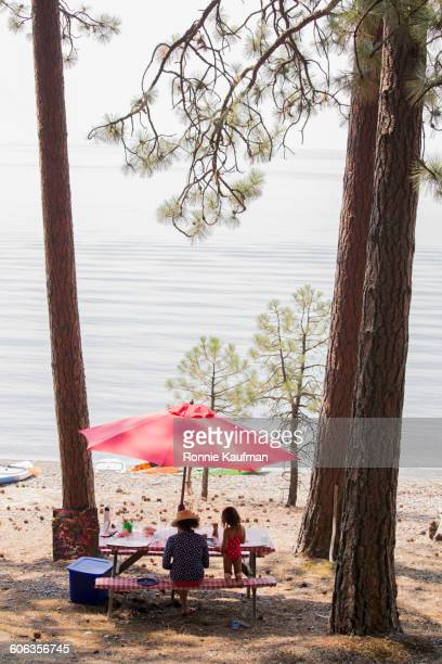 Caucasian mother and daughter sitting at picnic table near lake