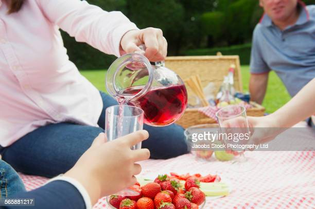 Caucasian mother pouring juice for son at picnic