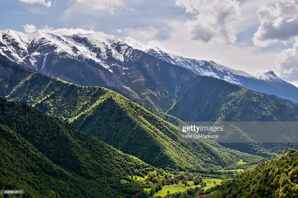 Caucasian mountain valley of Georgia : Stock Photo