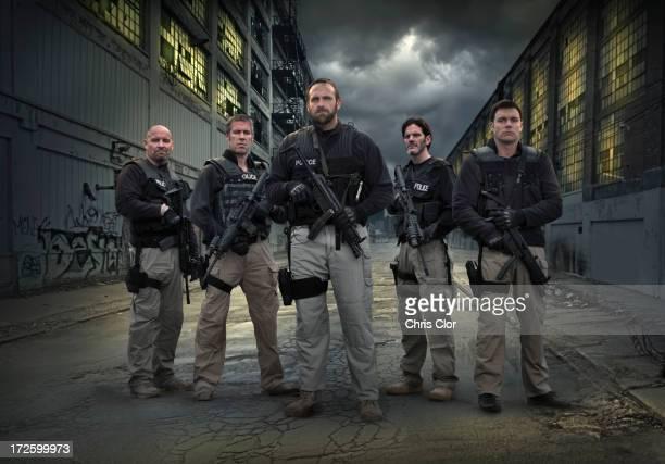 Caucasian policemen on city street