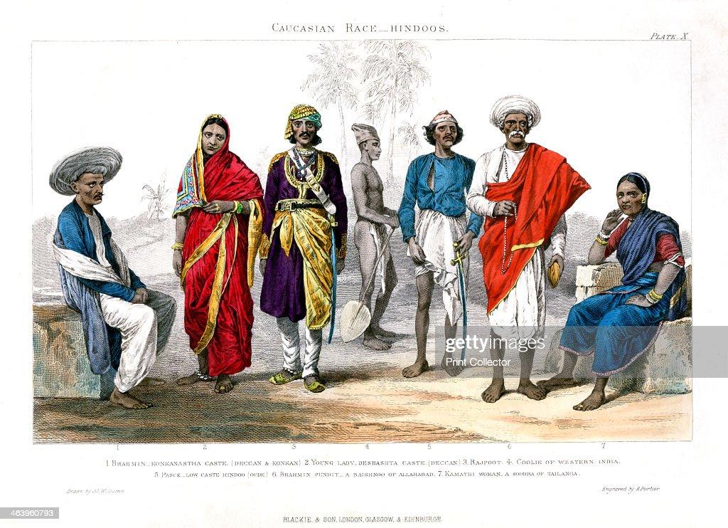 'Caucasian Race, Hindus', 1800-1900.Artist: A Portier : News Photo