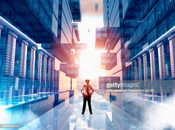 Caucasian security officer guarding virtual server room