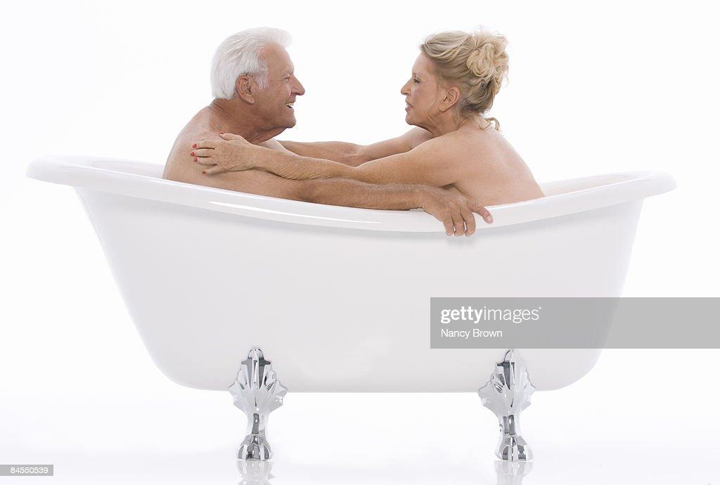 Caucasian Senior Couple In Bathtub Stock Photo   Getty Images