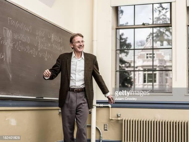 Caucasian teacher talking in classroom