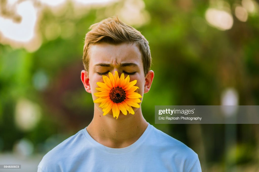 Caucasian teenage boy holding sunflower in mouth : Stock Photo