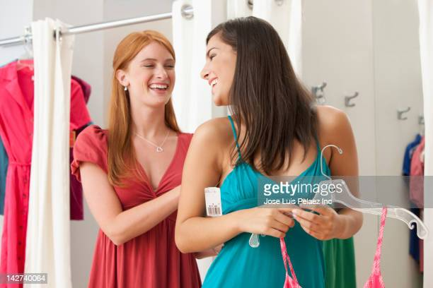 Caucasian teenage girls in dressing room