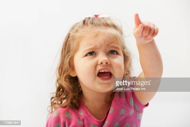 Caucasian toddler pointing