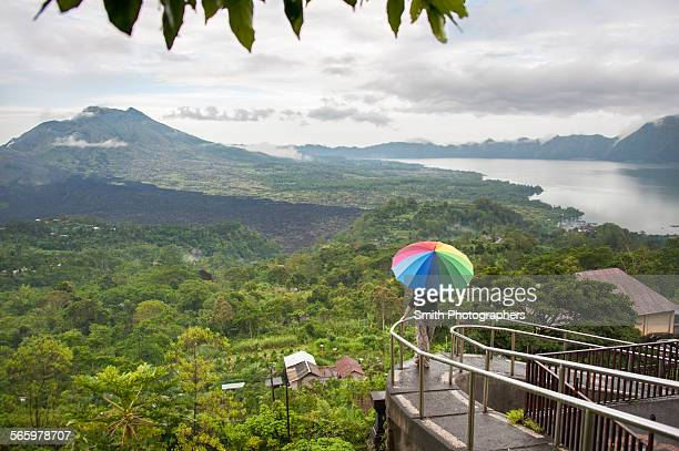 Caucasian tourist admiring scenic view of jungle