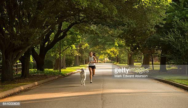 caucasian woman and dog jogging on neighborhood street - vorort wohnsiedlung stock-fotos und bilder