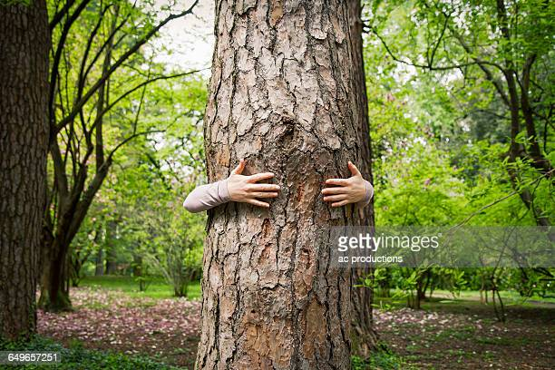 Caucasian woman hugging tree in park